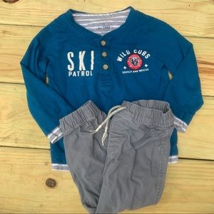 Children's Place Ski Club Graphic Outfit Set 2t